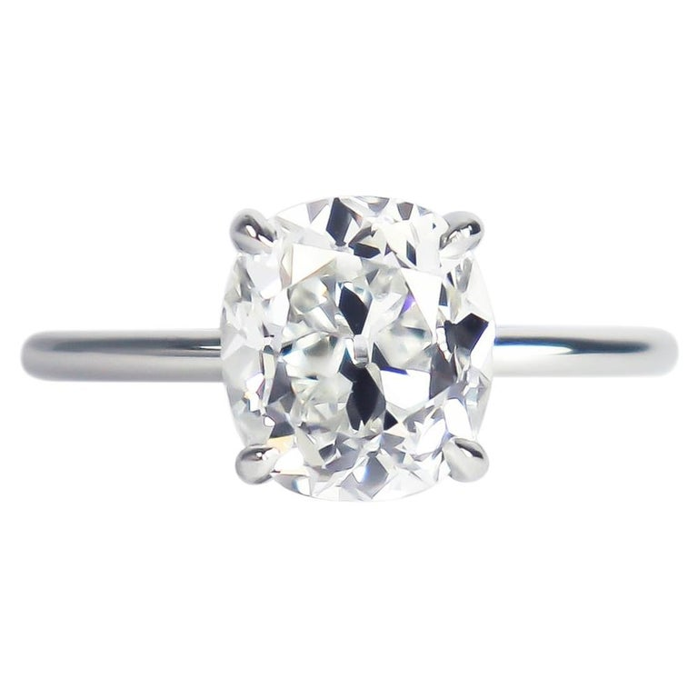 J. Birnbach GIA Certified 2.13 Ct Cushion Brilliant Cut Diamond Solitaire Ring For Sale