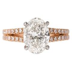 J. Birnbach GIA Certified 2.21 Carat G SI2 Oval Diamond Split Shank Ring