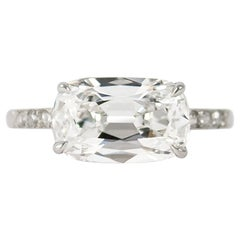 J. Birnbach GIA Certified 2.38 Cushion Brilliant East West Ring
