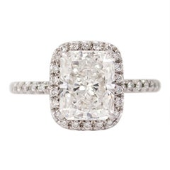 J. Birnbach GIA Certified 2.40 Carat Radiant F SI1 Cellini Style Halo Ring