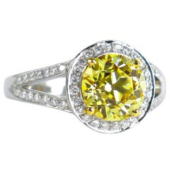 J. Birnbach GIA Certified 2.44 Carat Fancy Yellow Old European Cut Diamond Ring