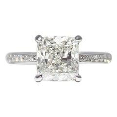 J. Birnbach GIA Certified 2.51 Carat G VS2 Cushion Cut Diamond Solitaire Ring
