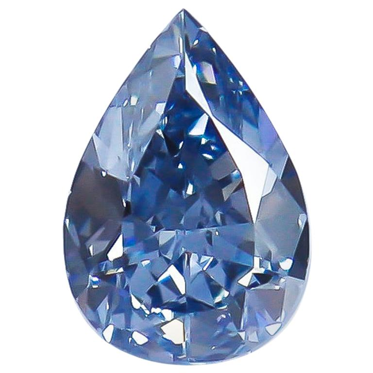 J. Birnbach GIA Certified 2.61 Carat Fancy Vivid Blue VS2 Pear Brilliant Diamond