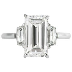 J. Birnbach GIA Certified 2.70 Carat G VS1 Emerald Cut Diamond Three-Stone Ring