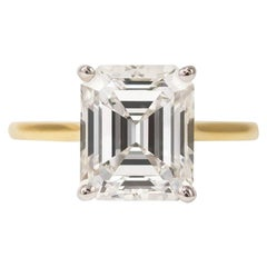 J. Birnbach GIA Certified 2.74 Carat Emerald Cut Diamond Solitaire Ring