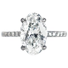 J. Birnbach GIA Certified 2.92 Carat Oval Brilliant Cut Diamond Solitaire Ring