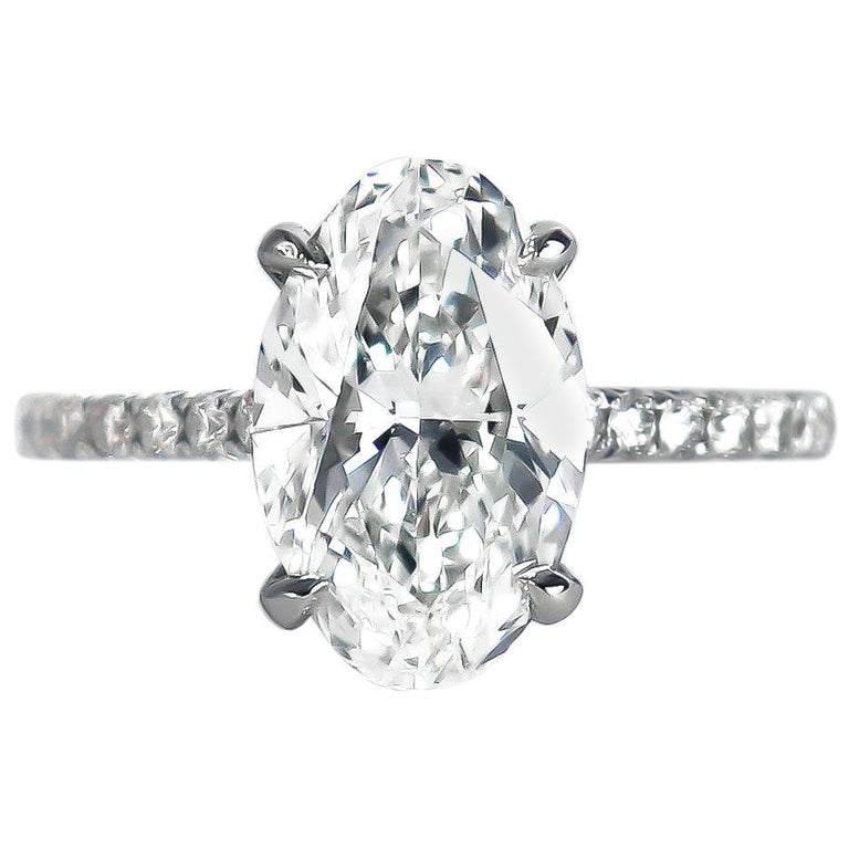 J. Birnbach GIA Certified 2.92 Carat Oval Brilliant Cut Diamond Solitaire Ring For Sale