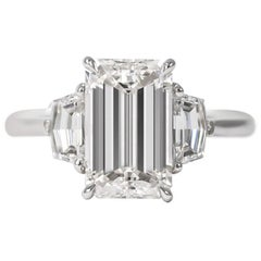 J. Birnbach GIA Certified 3.00 E VS2 Emerald Cut Three-Stone Ring