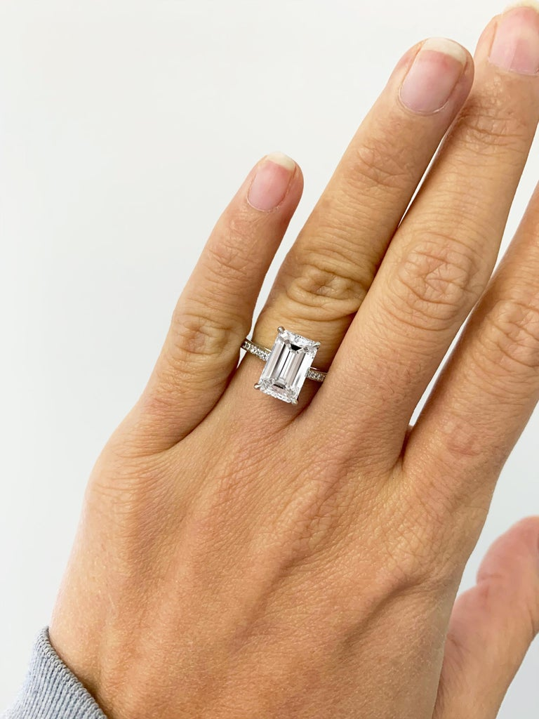 Contemporary J. Birnbach GIA Certified 3.01 Carat D SI1 Emerald Cut Diamond Solitaire Ring For Sale