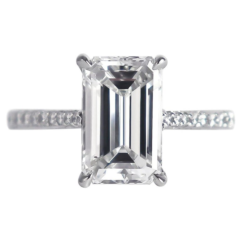 J. Birnbach GIA Certified 3.01 Carat D SI1 Emerald Cut Diamond Solitaire Ring For Sale