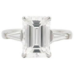 J. Birnbach GIA Certified 3.01 Carat F SI1 Emerald Cut Diamond Ring