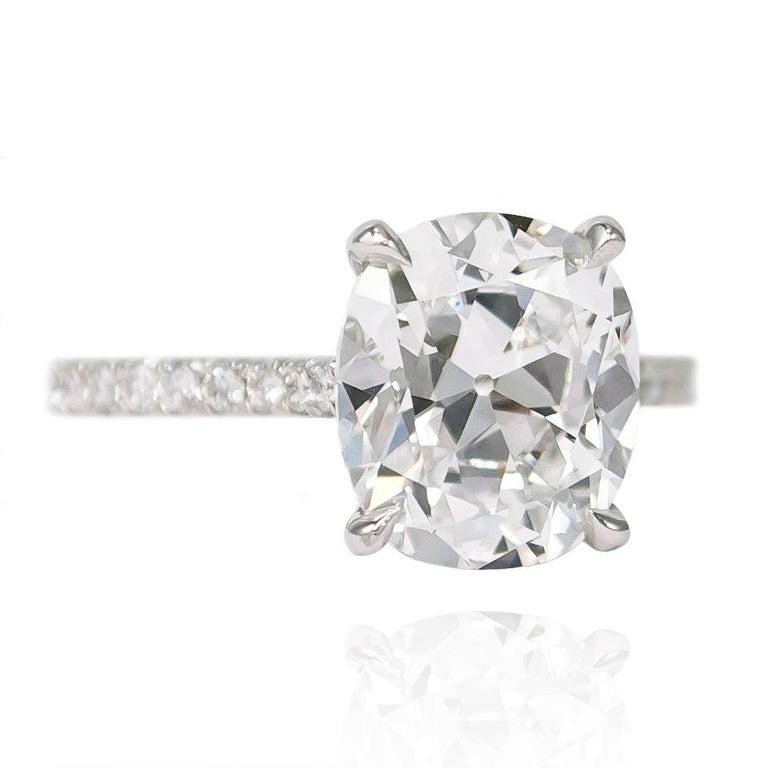 Cushion Cut J. Birnbach GIA Certified 3.02 Carat D SI1 Antique Cushion Diamond Ring For Sale
