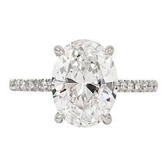 J. Birnbach GIA Certified 3.03 Carat D VS2 Oval Solitaire Ring