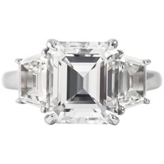 J. Birnbach GIA Certified 3.04 Carat E VS1 Emerald Cut Three-Stone Ring