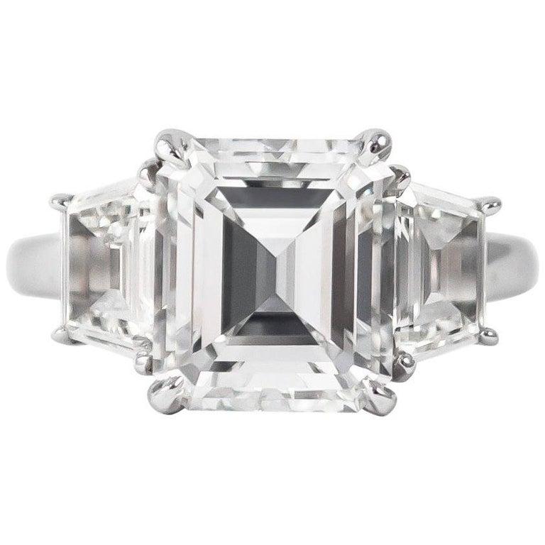 J. Birnbach GIA Certified 3.04 Carat E VS1 Emerald Cut Three-Stone Ring For Sale
