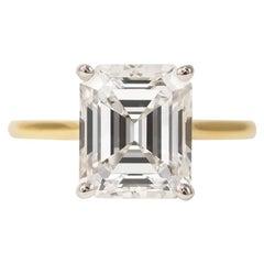 J. Birnbach GIA Certified 3.08 Carat Emerald Cut Diamond Solitaire Ring