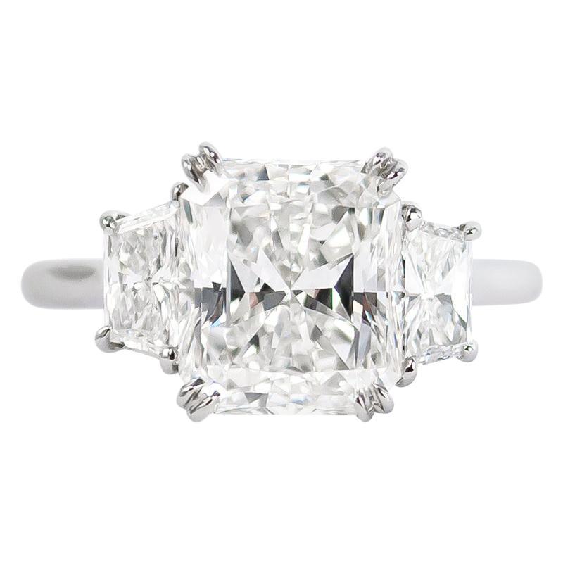 J. Birnbach GIA Certified 3.08 Carat Radiant Cut Three-Stone Diamond Ring
