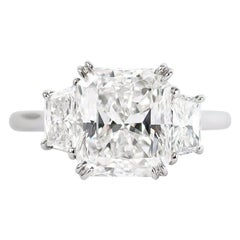 J. Birnbach GIA Certified 3.08 Carat Radiant Cut Three-Stone Diamond Ring