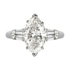 J. Birnbach GIA Certified 3.13 Carat H SI2 Marquise Diamond Ring