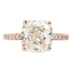 J. Birnbach GIA Certified 3.20 Carat Cushion Cut Diamond Ring