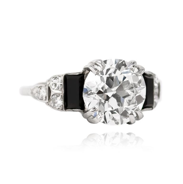 Art Deco  GIA Certified 3.23 Carat Old Euro Antique Diamond Ring For Sale
