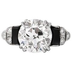 GIA Certified 3.23 Carat Old Euro Antique Diamond Ring