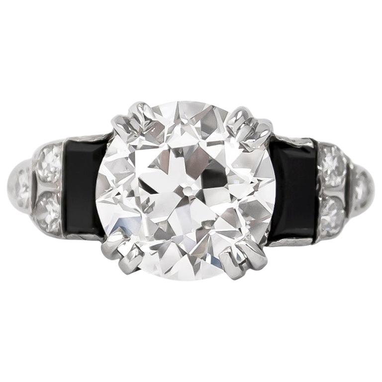 GIA Certified 3.23 Carat Old Euro Antique Diamond Ring For Sale