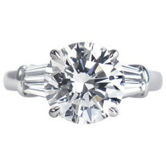 J. Birnbach GIA Certified 3.25 Carat F VVS2 Brilliant Round Diamond Ring