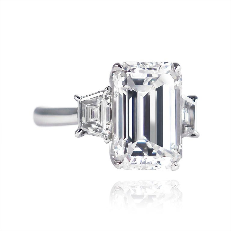 Contemporary J. Birnbach GIA Certified 3.50 Carat Emerald Cut Diamond Three-Stone Ring For Sale