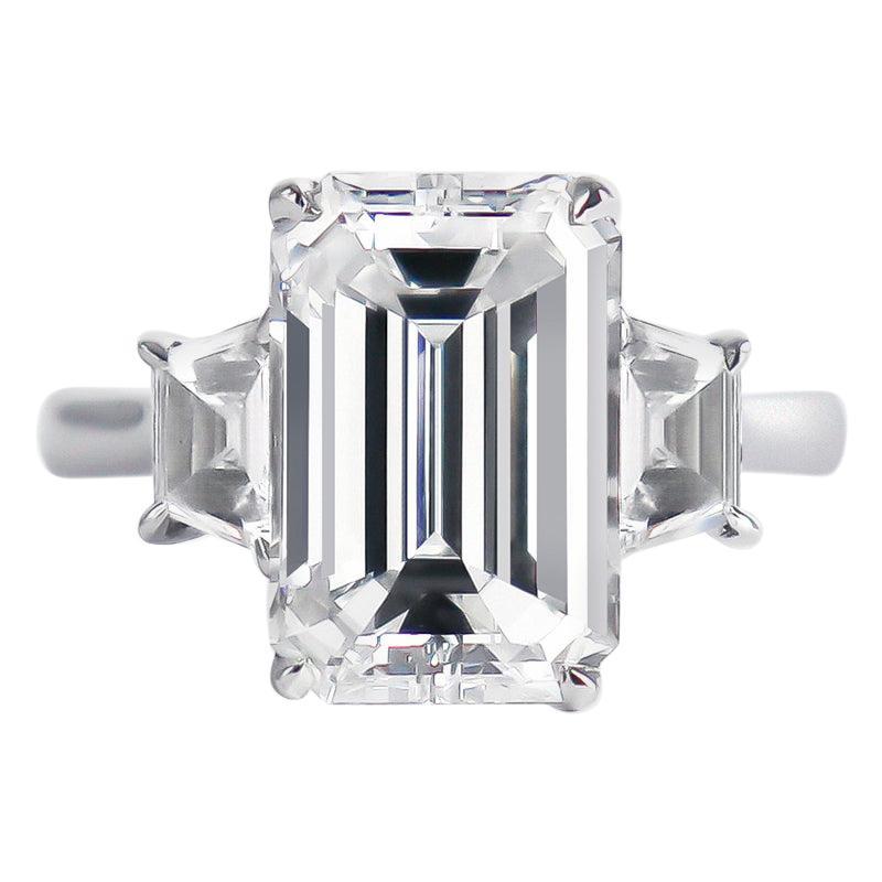 J. Birnbach GIA Certified 3.50 Carat Emerald Cut Diamond Three-Stone Ring