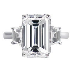 J. Birnbach GIA Certified 3.50 Carat Emerald Cut Diamond Three-Stone Ring