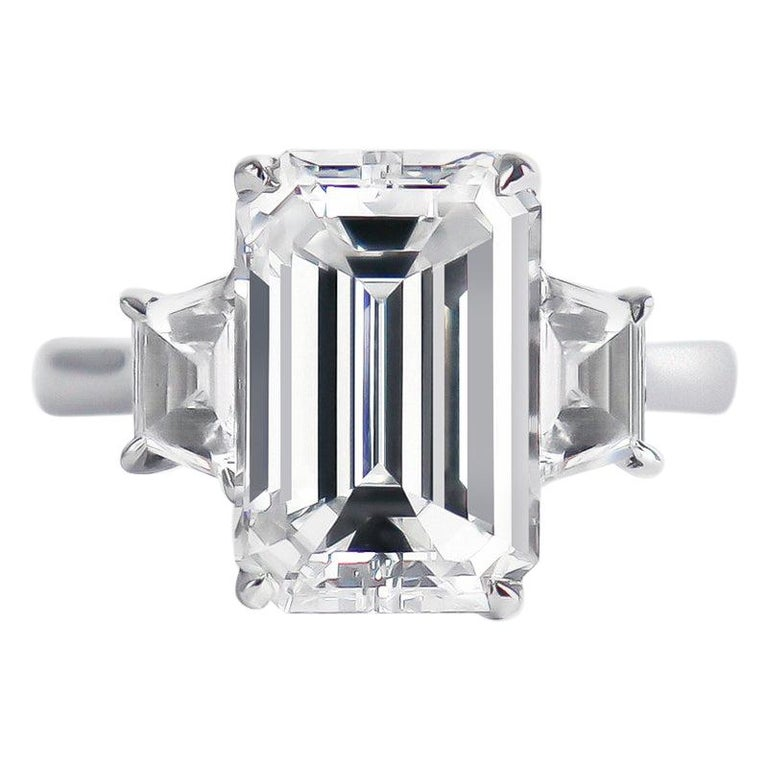 J. Birnbach GIA Certified 3.50 Carat Emerald Cut Diamond Three-Stone Ring For Sale