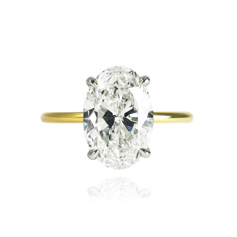 Contemporary J. Birnbach GIA Certified 3.50 Carat Oval Brilliant Cut Diamond Solitaire Ring