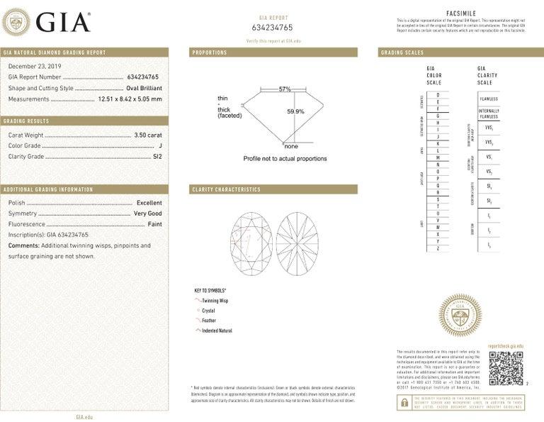 Oval Cut J. Birnbach GIA Certified 3.50 Carat Oval Brilliant Cut Diamond Solitaire Ring