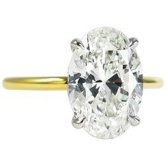 J. Birnbach GIA Certified 3.50 Carat Oval Brilliant Cut Diamond Solitaire Ring