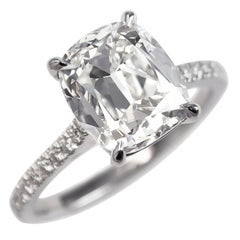 J. Birnbach GIA Certified 3.57 Carat Cushion Brilliant Cut Diamond Ring