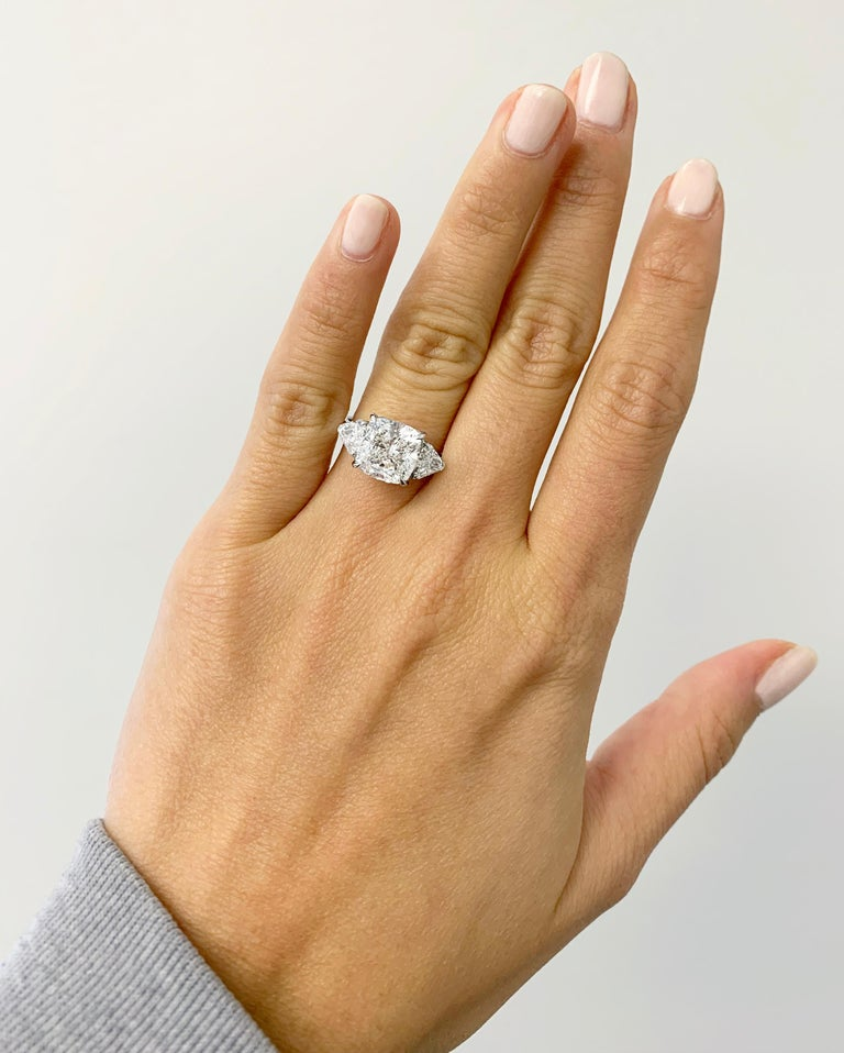 J. Birnbach GIA Certified 3.71 Carat Cushion Modified Brilliant Three-Stone Ring In New Condition For Sale In New York, NY