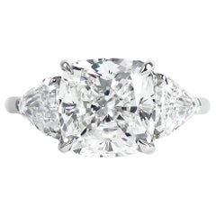 J. Birnbach GIA Certified 3.71 Carat Cushion Modified Brilliant Three-Stone Ring