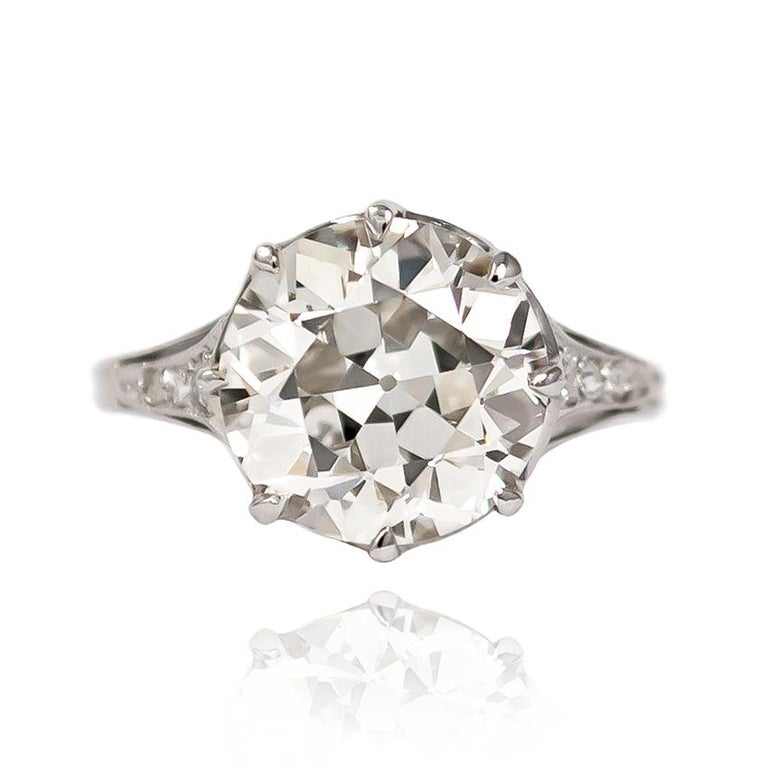 Breathtaking and charming in every way, this antique mounting features a 3.71 ct Old European cut diamond of L color and SI1 clarity. Set in a handmade, platinum filigree mounting, this is a once-in-a-lifetime ring...   Purchase includes