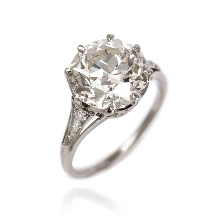 Old European Cut J. Birnbach GIA Certified 3.71 Carat Old Euro Diamond Antique Ring For Sale