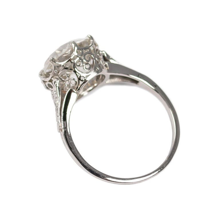 J. Birnbach GIA Certified 3.71 Carat Old Euro Diamond Antique Ring In Excellent Condition For Sale In New York, NY