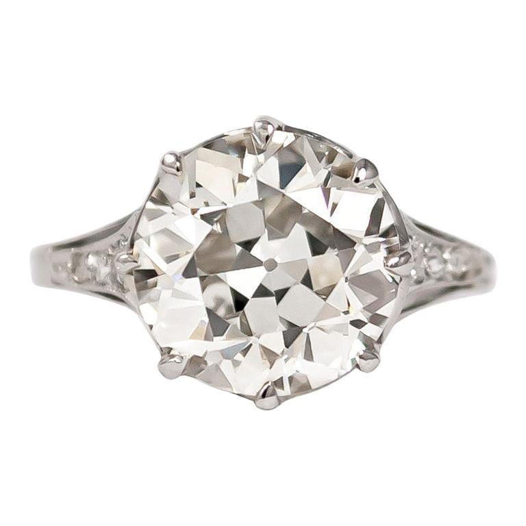 J. Birnbach GIA Certified 3.71 Carat Old Euro Diamond Antique Ring For Sale