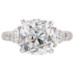 J. Birnbach GIA Certified 4.00 Carat Cushion Brilliant Cut Diamond Ring