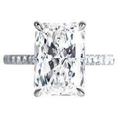 J. Birnbach GIA Certified 4.02 Carat E VVS2 Radiant Cut Diamond Solitaire Ring