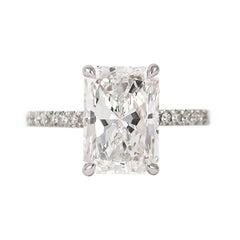 J. Birnbach GIA Certified 4.02 D color Radiant Cut Diamond Ring