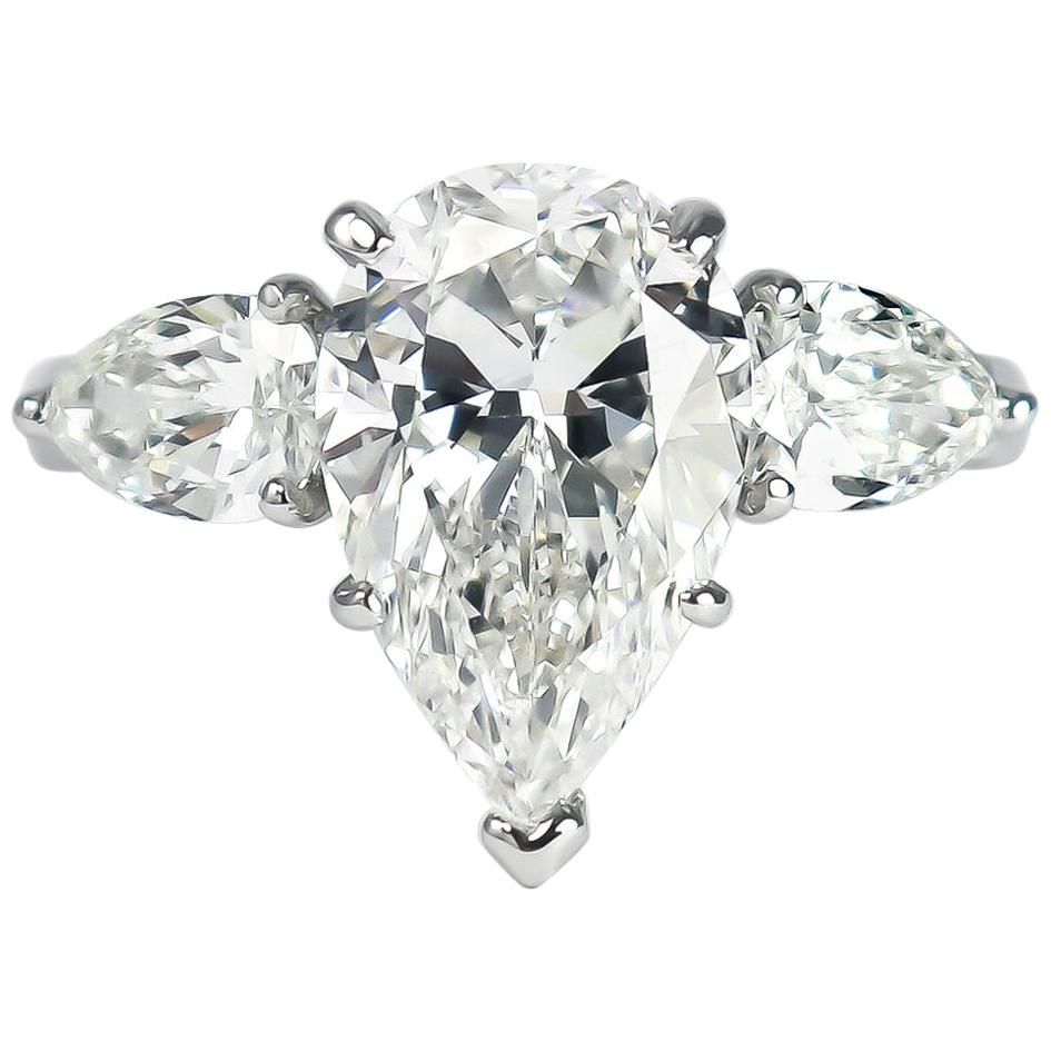 J. Birnbach GIA Certified 4.03 Carat G VS1 Pear Brilliant Cut Diamond Ring