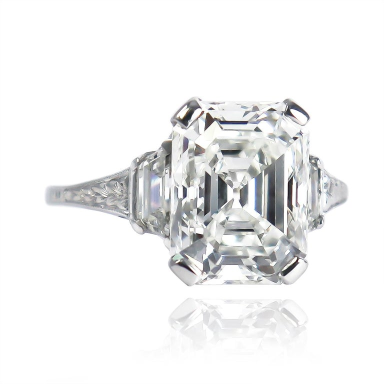 J. Birnbach GIA Certified 4.12 Carat F SI1 Emerald Cut Diamond Art Deco Ring In Excellent Condition For Sale In New York, NY