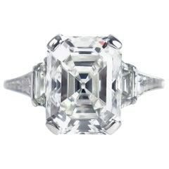 J. Birnbach GIA Certified 4.12 Carat F SI1 Emerald Cut Diamond Art Deco Ring