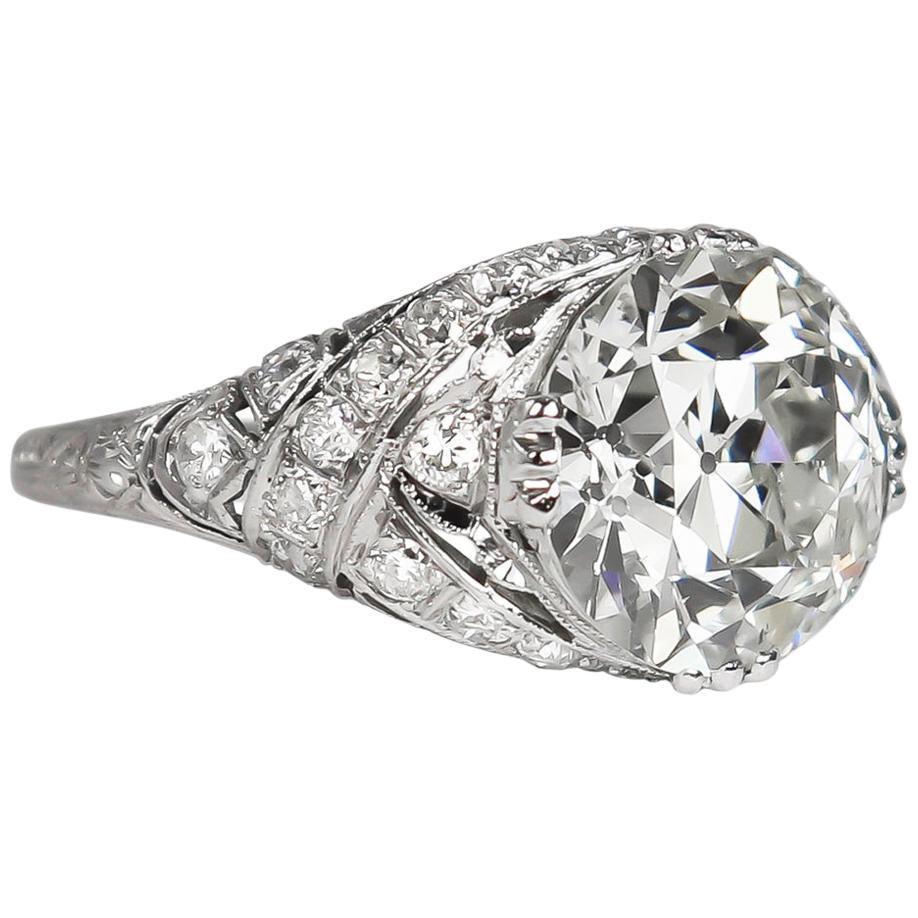 J. Birnbach GIA Certified 4.14 Carat Old European Cut Diamond Platinum Ring