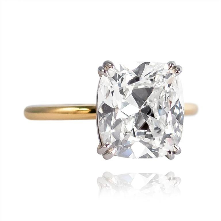 Contemporary J. Birnbach GIA Certified 4.21 Carat Cushion Brilliant Diamond Solitaire Ring For Sale